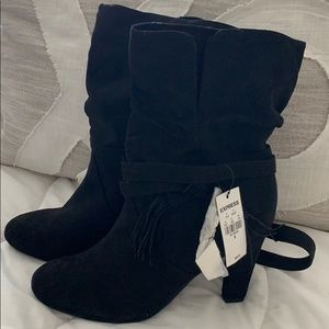 NWT Express Black boot heels Size 8